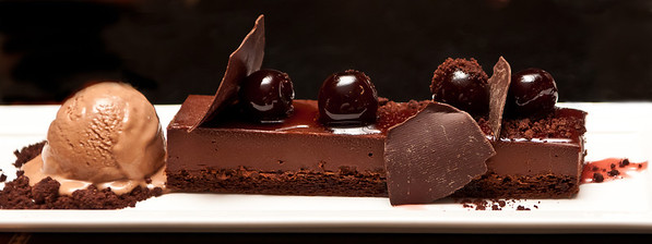 Chocolate Indulgence . . . Valhrona Chocolate Ganache with Salted Chocolate Ice Cream, Amarena Cherries, and Dark Chocolate Crumble